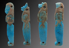 Egyptian faience Mummy amulets of the four sons of Horus - 43 mm