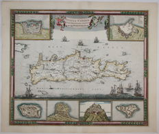 Greece, Crete; Frederick de Wit - Insula Candia ejusque Fortificatio - 1680