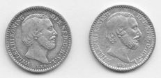 The Netherlands, 10 cents 1887 and 1889, Willem III - silver.
