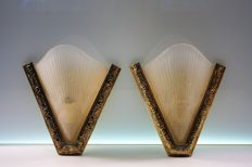 Designer unknown - Pair of Art deco style brass and glass shell wall lamps