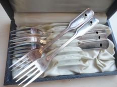 Wehrmacht silver-plated cake forks in original box and with emblem