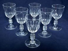 6 small Baccarat wine glasses in cut crystal, France, 1840 - 50 period