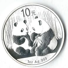 China panda 2009 2 pandas playing 31.1 grams fine silver