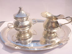 Italian .800 silver cream set with Netherlands .835 silver serving tray