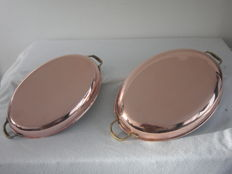 2 Copper oval oven dishes