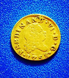 Spain – 1/2 Escudo, 1758 Madrid JB.