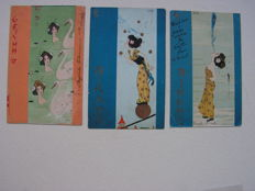 France _ 3 cards with Geisha's. NEW ART NOUVEAU. Designs by RAPHAEL KIRCHNER. approx. 1900