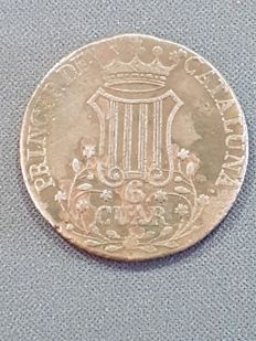 Spain - Isabel II - 6 Cuartos from the year 1846 - Minted in Barcelona - Flower with 5 petals - Scarce.