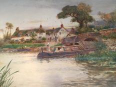 Walter Stuart Lloyd (1845-1959) New Inn, river view with longboat