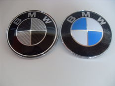 2 x BMW front badge (not trunk) 82 mm 2 pins for BMW hood