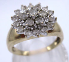 Gold Diamond Cluster ring 1970 - 1 CT Diamond Marked in the band ring.