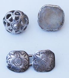 Spain - Excellent lot of 4 silver buttons of the Nobility - Colonial era - XVII - XVIII