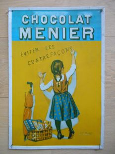 Metal advertising sign for Chocolat Menier from 1980.
