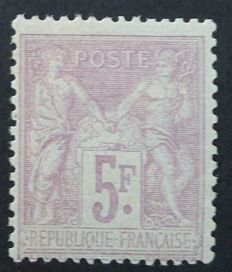 France 1877 - Sage, type II, 5 fr. lilac-pink s. pale lilac, signed Calves with numerical certificate - Yvert no. 95a.