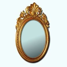 Wall mirror in hand carved gilt wood - Neapolitan Louis Philippe style - Italy, second half of the 19th century