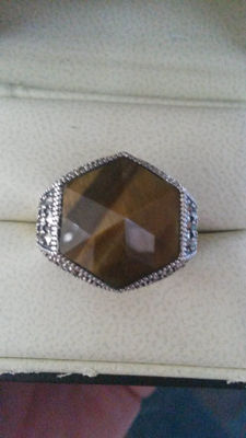 Huge 8.95ct Namibian Tigers Eye with Marcasite Unisex ring. Medival style