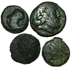 Greek Antiquity - Lot of four (4) Æ from Sicily (Italy) - Syracuse Dionysos I, Messana the Mamertinoi, Akragas and Syracuse Hieron I