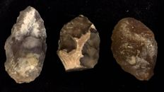 Mid-Paleolithic interesting lot of three biface -  70 / 63 / 70 mm (3)