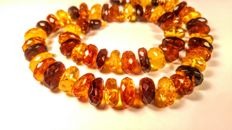 100% Genuine Baltic Amber Faceted beads necklace, length 50 cm, 42 grams