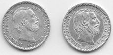The Netherlands – 10 cents 1882 and 1885, Willem III – silver.