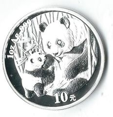 China panda 2005 rare baby panda eats with mama panda 31.1 grams silver