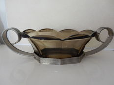 Rare - Very beautiful and old fruit bowl - Style Art Deco - era 1930 - on support in chromed metal - France