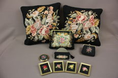 Petit Point / cushions / handbag / wallet / powder box / mirror case / paintings / The Netherlands / 20th century.