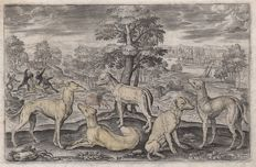 Adriaen Collaert (1560 - 1618) - Landscape with several dogs / after Albrecht Durer - in  first state - ca.1597