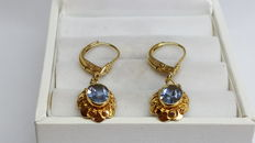 14 kt yellow gold women's earrings set with aquamarine, no reserve price!