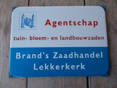 "Old enamel advertising sign ""Brand's Zaadhandel Lekkerkerk"", from the 1950s"