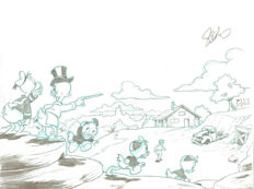 Garrido, Sergio - Original Production Drawing - Donald Duck, Uncle Scrooge and Nephews