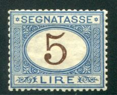 Kingdom of Italy, 5 Lira, postage due, azure and brown, Sassone no. 13