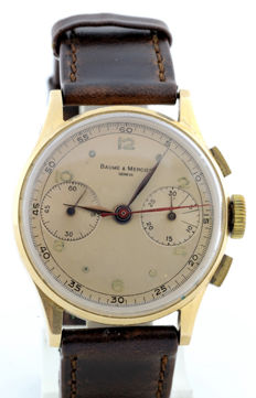 BAUME AND MERCIER (GENEVE). Men's chronograph wristwatch. Circa