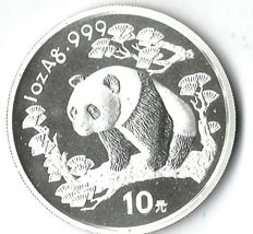 China panda 1997 rare panda sitting on the branch 31.1 grams silver