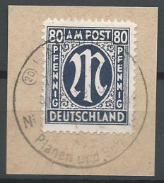 Allied Occupation Bizone 1945 - M in oval on letter - Michel 34bC
