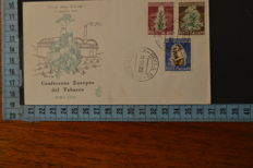 Italy, 1950-57 – lot of 3 first day cover Venetia Club – Tobacco – 29th Fair – Tuscany stamps