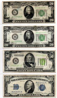 USA-112 dollars Federal Reserve note and 10 dollars Silver certificate.