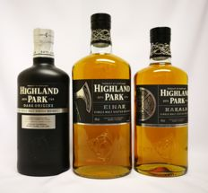 "3 bottles - Highland Park ""Dark Origins"" 46.8% abv 70cl & Highland Park ""Einar"" 40% abv 100cl & Highland Park ""Harald"" 40.% abv 70cl ( 3 bottles in original box )"