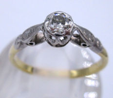 18K Yellow Gold Old Mine Cut  1 Diamond 0.40 CT VS1I