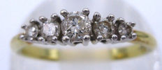 18K Yellow Gold Round Cut Diamonds, 5 Diamonds 0.85 CT SI1K