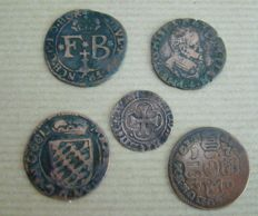 Liege, Brugges and unknown – lot with various coins, around 1575/1750 (5 pieces)