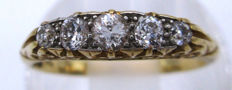 18K Yellow Gold Old Cut Diamonds, 5 Diamonds 0.92 CT VS1H