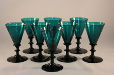 A set of eight glass crystal knot glasses, probably England, 19th century