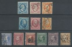 The Netherlands 1852/1888 - King Willem III - NVPH 1/3, 4/6, 7/12