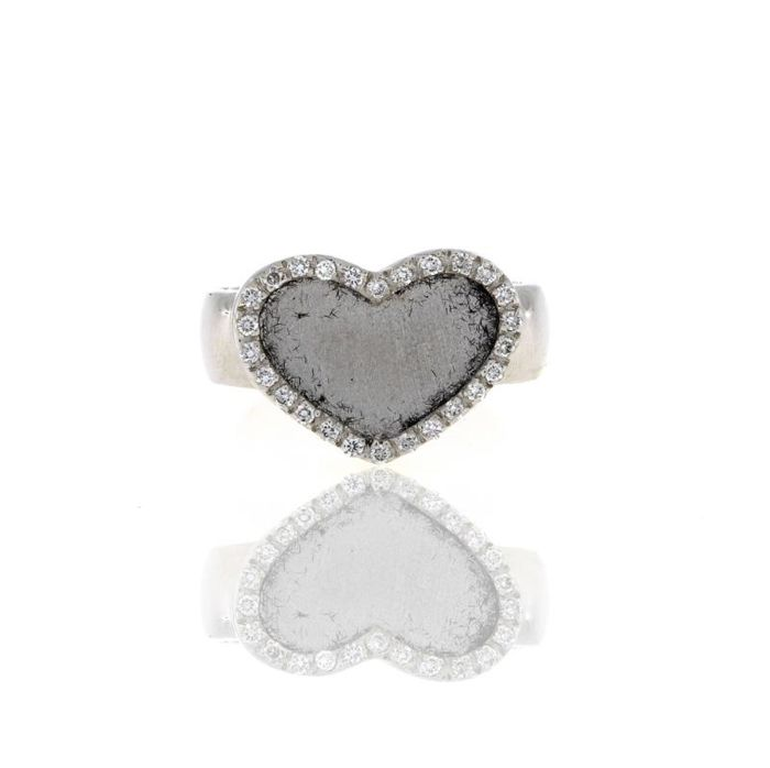 Heart ring in white gold with diamonds 19.2kt - Size: 13.