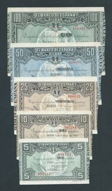 Spain - Bilbao - 5 denominations series 1937 - Pick S561, S562, S563, S564 and S565