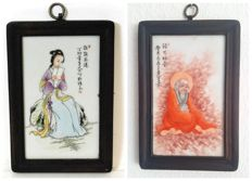 2 paintings of scholars on porcelain - China - end of the 20th century