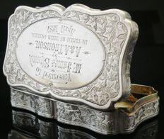 Antique Silver Snuff Box, George Unite, Birmingham 1885
