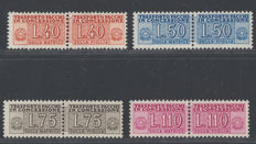 Italian Republic, 1953 – Parcel post 'pacchi in concessione' (via private couriers with 2-part stamps) – Wheel watermark. Sassone no.: Sassone no. 1/4