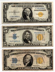 USA-North Africa issues-1, 5 and 10 dollars Silver certificate-Pick 416AY, 414AY and 415AY